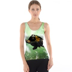 Beautiful Seaturtle With Bubbles Tank Tops