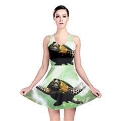 Beautiful Seaturtle With Bubbles Reversible Skater Dresses