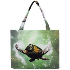Beautiful Seaturtle With Bubbles Tiny Tote Bags