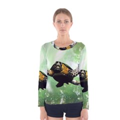 Beautiful Seaturtle With Bubbles Women s Long Sleeve T-shirts