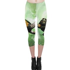 Beautiful Seaturtle With Bubbles Capri Leggings
