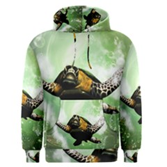 Beautiful Seaturtle With Bubbles Men s Pullover Hoodies