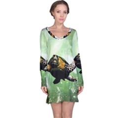 Beautiful Seaturtle With Bubbles Long Sleeve Nightdresses