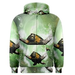 Beautiful Seaturtle With Bubbles Men s Zipper Hoodies