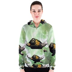 Beautiful Seaturtle With Bubbles Women s Zipper Hoodies