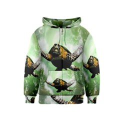Beautiful Seaturtle With Bubbles Kids Zipper Hoodies