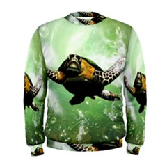 Beautiful Seaturtle With Bubbles Men s Sweatshirts