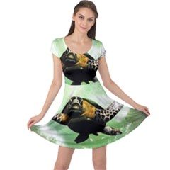 Beautiful Seaturtle With Bubbles Cap Sleeve Dresses
