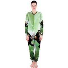 Beautiful Seaturtle With Bubbles OnePiece Jumpsuit (Ladies)
