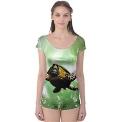 Beautiful Seaturtle With Bubbles Short Sleeve Leotard