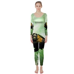 Beautiful Seaturtle With Bubbles Long Sleeve Catsuit