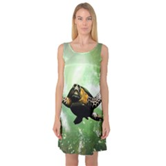 Beautiful Seaturtle With Bubbles Sleeveless Satin Nightdresses
