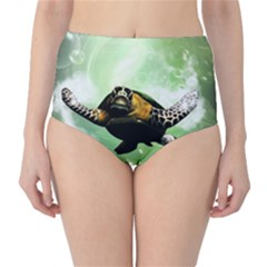 Beautiful Seaturtle With Bubbles High-Waist Bikini Bottoms