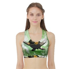 Beautiful Seaturtle With Bubbles Women s Sports Bra with Border