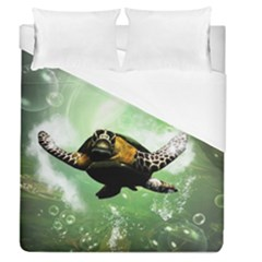 Beautiful Seaturtle With Bubbles Duvet Cover Single Side (Full/Queen Size)