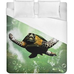 Beautiful Seaturtle With Bubbles Duvet Cover Single Side (Double Size)