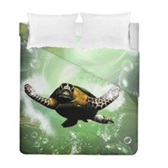 Beautiful Seaturtle With Bubbles Duvet Cover (Twin Size)