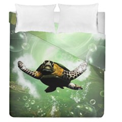Beautiful Seaturtle With Bubbles Duvet Cover (Full/Queen Size)