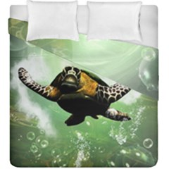 Beautiful Seaturtle With Bubbles Duvet Cover (King Size)