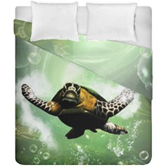 Beautiful Seaturtle With Bubbles Duvet Cover (Double Size)