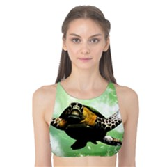 Beautiful Seaturtle With Bubbles Tank Bikini Top