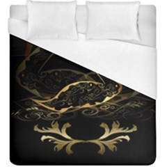 Wonderful Swan In Gold And Black With Floral Elements Duvet Cover Single Side (kingsize) by FantasyWorld7