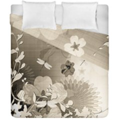 Vintage, Wonderful Flowers With Dragonflies Duvet Cover (double Size) by FantasyWorld7