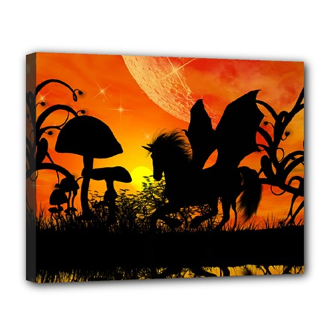 Beautiful Unicorn Silhouette In The Sunset Canvas 14  X 11  by FantasyWorld7