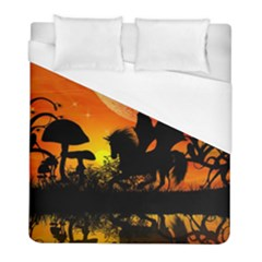 Beautiful Unicorn Silhouette In The Sunset Duvet Cover Single Side (twin Size) by FantasyWorld7