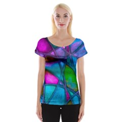 Imposant Abstract Teal Women s Cap Sleeve Top by ImpressiveMoments
