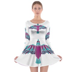 Stained Glass Bird Illustration  Long Sleeve Skater Dress