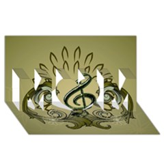 Decorative Clef With Damask In Soft Green Mom 3d Greeting Card (8x4)  by FantasyWorld7