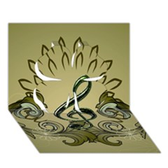 Decorative Clef With Damask In Soft Green Clover 3d Greeting Card (7x5)  by FantasyWorld7