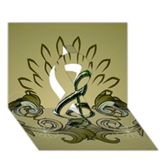 Decorative Clef With Damask In Soft Green Ribbon 3d Greeting Card (7x5)