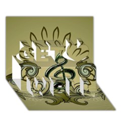 Decorative Clef With Damask In Soft Green Get Well 3d Greeting Card (7x5)  by FantasyWorld7