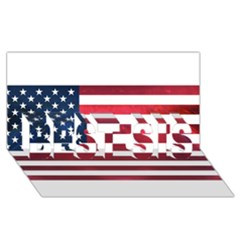 Usa2 Best Sis 3d Greeting Card (8x4)