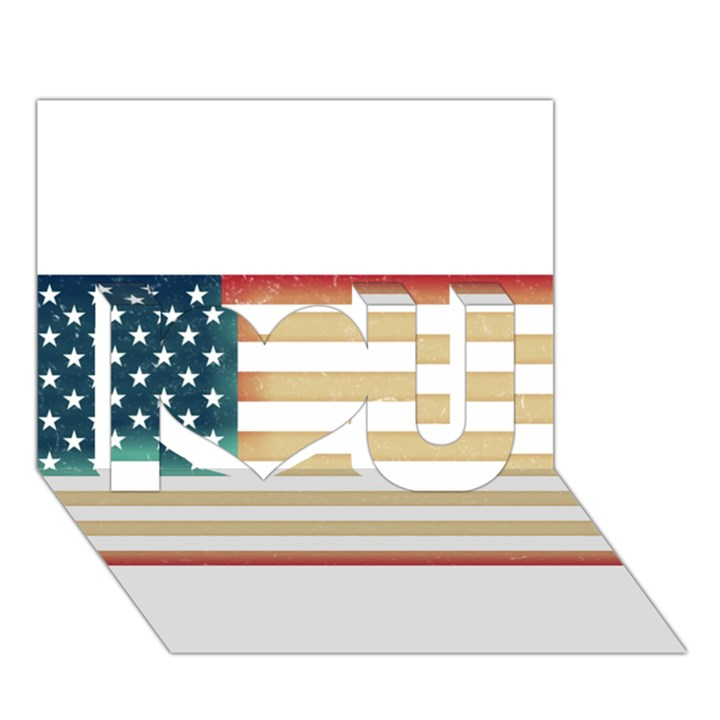 Usa7 I Love You 3D Greeting Card (7x5)