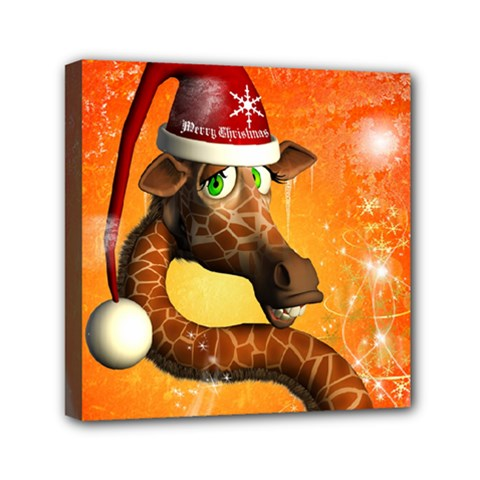 Funny Cute Christmas Giraffe With Christmas Hat Mini Canvas 6  X 6  by FantasyWorld7