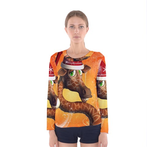 Funny Cute Christmas Giraffe With Christmas Hat Women s Long Sleeve T-shirts by FantasyWorld7