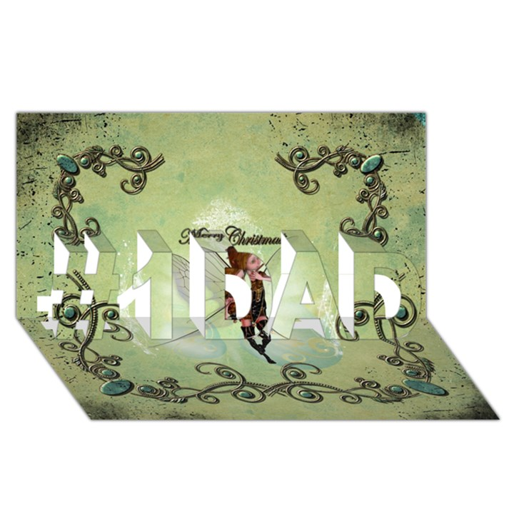 Cute Elf Playing For Christmas #1 DAD 3D Greeting Card (8x4)