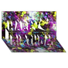 Colour Splash G264 Happy Birthday 3d Greeting Card (8x4)  by MedusArt