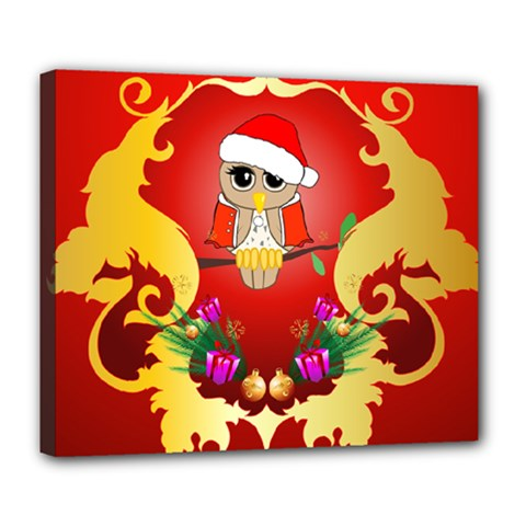 Funny, Cute Christmas Owl  With Christmas Hat Deluxe Canvas 24  X 20   by FantasyWorld7