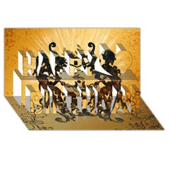 Clef With Awesome Figurative And Floral Elements Happy Birthday 3d Greeting Card (8x4)  by FantasyWorld7