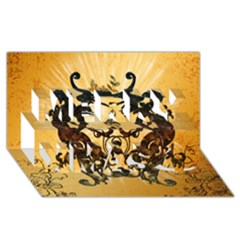 Clef With Awesome Figurative And Floral Elements Merry Xmas 3d Greeting Card (8x4)  by FantasyWorld7