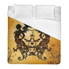 Clef With Awesome Figurative And Floral Elements Duvet Cover Single Side (twin Size) by FantasyWorld7