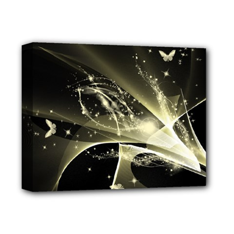 Awesome Glowing Lines With Beautiful Butterflies On Black Background Deluxe Canvas 14  X 11  by FantasyWorld7