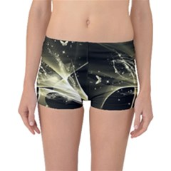 Awesome Glowing Lines With Beautiful Butterflies On Black Background Boyleg Bikini Bottoms by FantasyWorld7