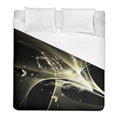 Awesome Glowing Lines With Beautiful Butterflies On Black Background Duvet Cover Single Side (twin Size) by FantasyWorld7