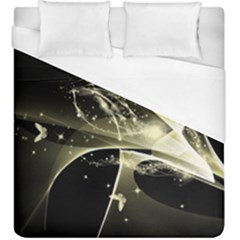 Awesome Glowing Lines With Beautiful Butterflies On Black Background Duvet Cover Single Side (kingsize) by FantasyWorld7