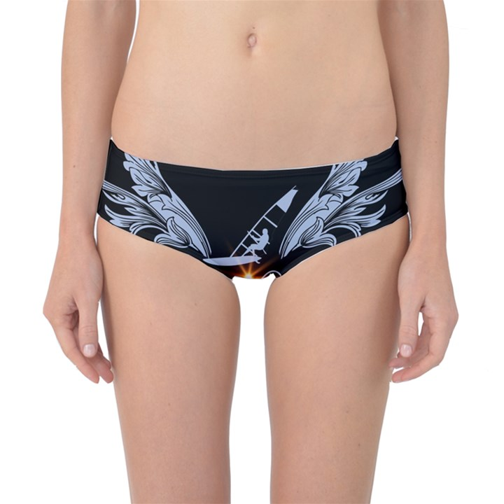 Surfboarder With Damask In Blue On Black Bakcground Classic Bikini Bottoms